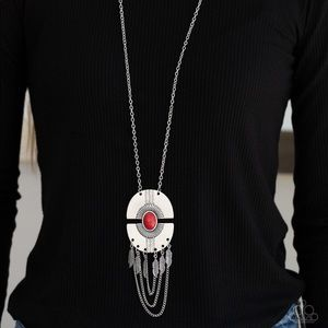Red tribal long necklace